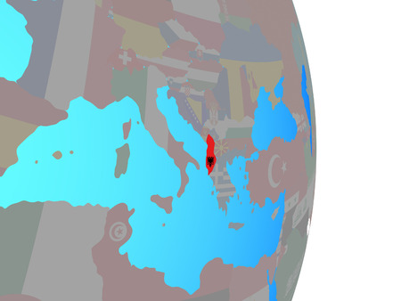 Albania with national flag on simple political globe. 3D illustration. Stock Photo
