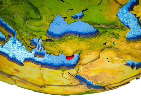 Cyprus on 3D Earth with divided countries and watery oceans. 3D illustration.