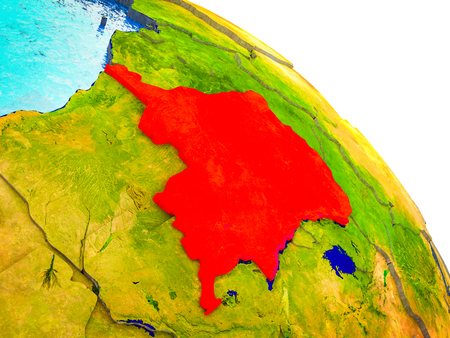 Dem Rep of Congo Highlighted on 3D Earth model with water and visible country borders. 3D illustration.