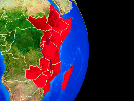 East Africa on realistic model of planet Earth with country borders and very detailed planet surface. 3D illustration.
