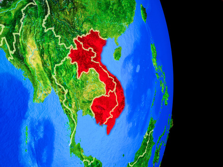 Indochina on realistic model of planet Earth with country borders and very detailed planet surface. 3D illustration. Stock Photo