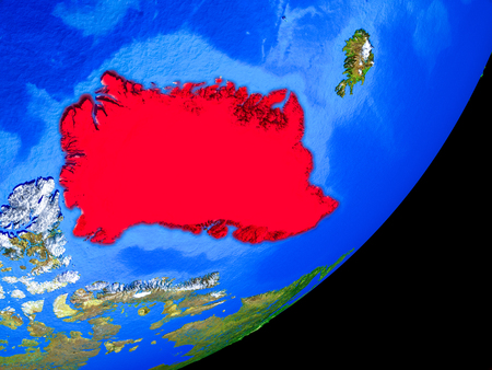 Greenland on planet Earth with country borders and highly detailed planet surface. 3D illustration. Stock Photo