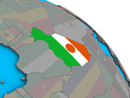 Niger with embedded national flag on simple blue political 3D globe. 3D illustration.