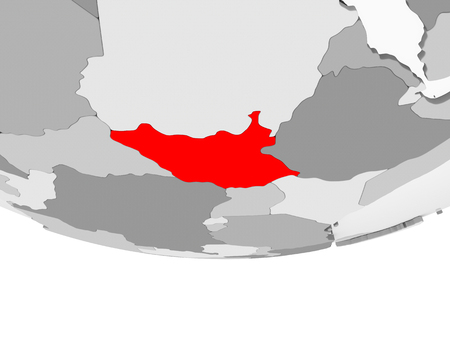 South Sudan in red on grey political globe with transparent oceans. 3D illustration.
