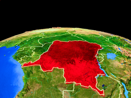 Dem Rep of Congo on model of planet Earth with country borders and very detailed planet surface. 3D illustration.