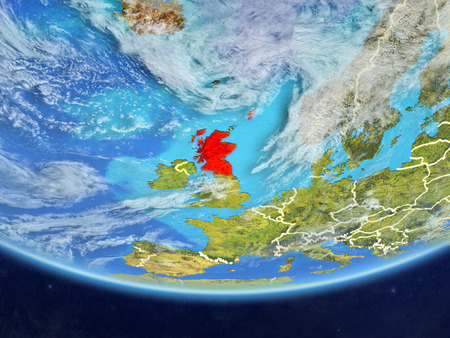 Scotland on realistic model of planet Earth with country borders and very detailed planet surface and clouds. 3D illustration. Stock Photo