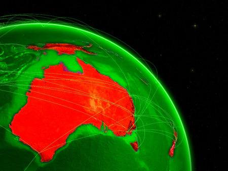 Australia on green Earth in space with networks. Concept of intercontinental air traffic or telecommunications network. 3D illustration. Stock Photo