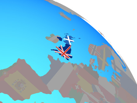 Scotland with national flag on simple blue political globe. 3D illustration.
