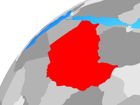 Sudan on globe. 3D illustration.