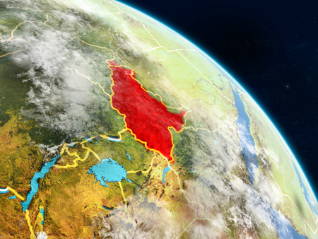 South Sudan from space on realistic model of planet Earth with country borders and detailed planet surface and clouds. 3D illustration. 스톡 콘텐츠 - 113503232