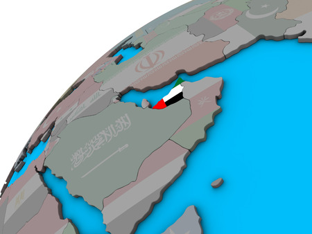 United Arab Emirates with national flag on 3D globe. 3D illustration.