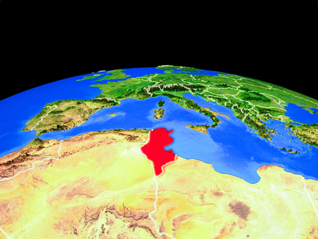 Tunisia on model of planet Earth with country borders and very detailed planet surface. 3D illustration.