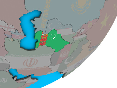 Turkmenistan with national flag on blue political 3D globe. 3D illustration.