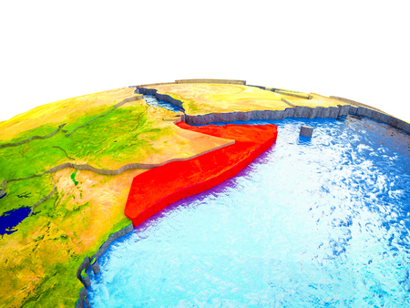 Somalia on 3D Earth with visible countries and blue oceans with waves. 3D illustration.