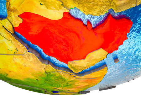 Arabia on 3D Earth with divided countries and watery oceans. 3D illustration. Stock Photo