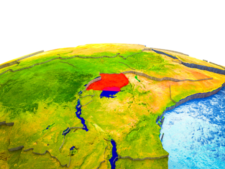Uganda on 3D Earth with visible countries and blue oceans with waves. 3D illustration.