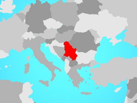 Serbia on blue political globe. 3D illustration. Stok Fotoğraf