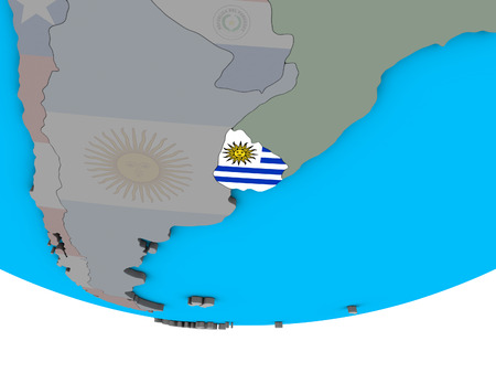 Uruguay with embedded national flag on simple political 3D globe. 3D illustration.