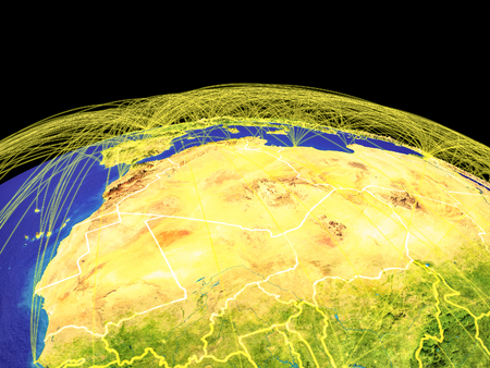 Maghreb region on planet Earth with country borders and trajectories representing international communication, travel, connections. 3D illustration. Stock Photo