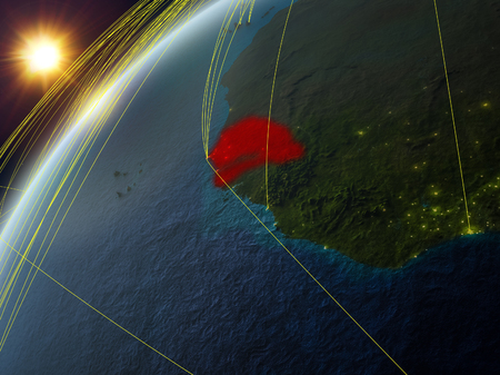 Closing in on Yemen on simple globe. 3D illustration. Stock Photo