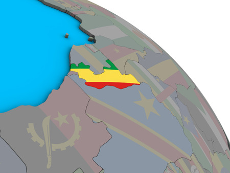 Congo with embedded national flag on simple blue political 3D globe. 3D illustration. Standard-Bild - 113504492
