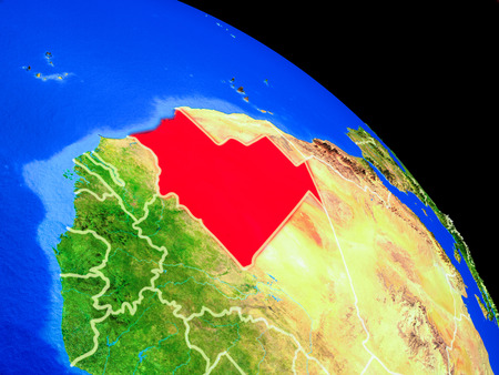 Mauritania on planet Earth from space with country borders. Very fine detail of planet surface. 3D illustration. Фото со стока