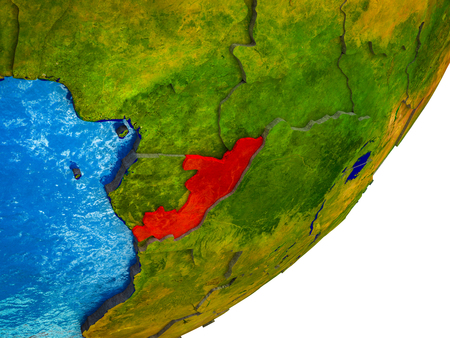Congo on 3D model of Earth with water and divided countries. 3D illustration. Standard-Bild - 113504569
