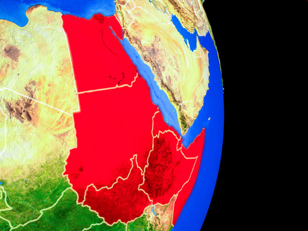 Northeast Africa on realistic model of planet Earth with country borders and very detailed planet surface. 3D illustration. Stock Photo