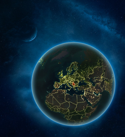 Serbia at night from space with Moon and Milky Way. Detailed planet Earth with city lights and visible country borders. 3D illustration. Imagens