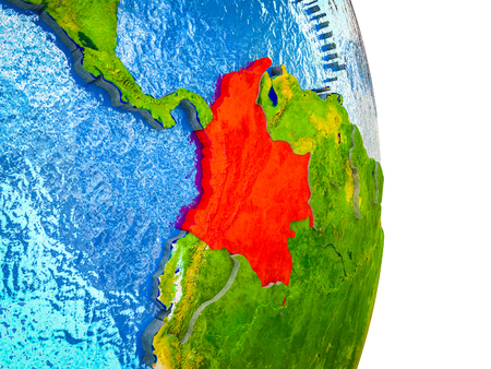 Colombia on 3D model of Earth with divided countries and blue oceans. 3D illustration.