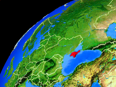 Crimea from space. Planet Earth with country borders and extremely high detail of planet surface. 3D illustration.