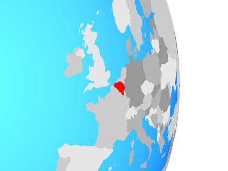 Belgium on simple political globe. 3D illustration. Imagens