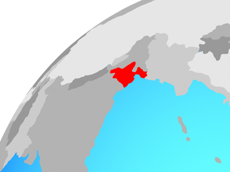 Bangladesh on globe. 3D illustration.