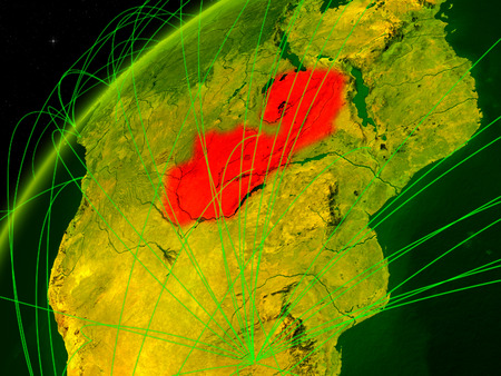 Zambia on model of green planet Earth with international networks. Concept of digital communication and technology. 3D illustration. Stock Photo