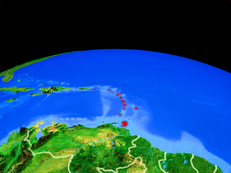 Caribbean on model of planet Earth with country borders and very detailed planet surface. 3D illustration.
