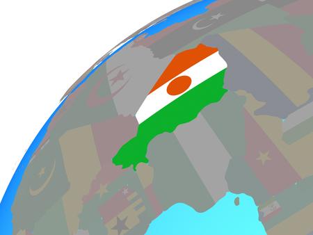 Niger with embedded national flag on globe. 3D illustration.