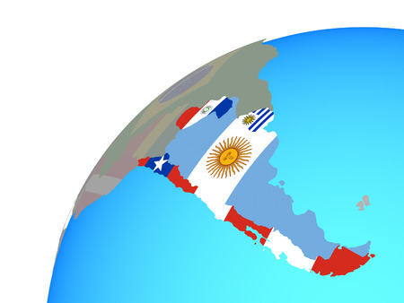 Southern Cone with embedded national flags on globe. 3D illustration.