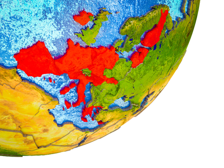 Eurozone member states on 3D model of Earth with water and divided countries. 3D illustration.