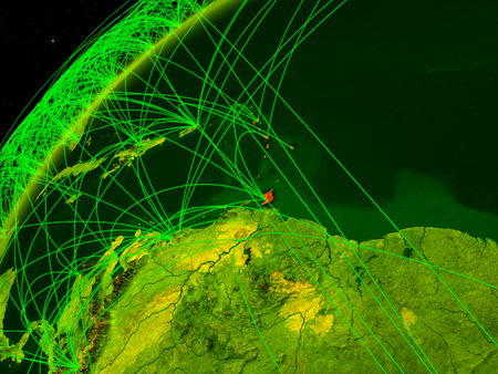Caribbean on model of green planet Earth with international networks. Concept of digital communication and technology. 3D illustration. Stock Photo