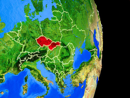 Former Czechoslovakia on realistic model of planet Earth with country borders and very detailed planet surface. 3D illustration. 写真素材 - 113506410