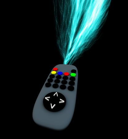streak lightning: A image of a television remote control with added lightning effect.
