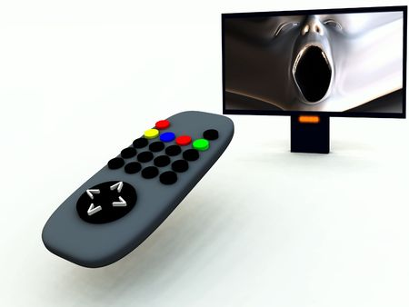 A image of a television remote control with a horror program on. photo