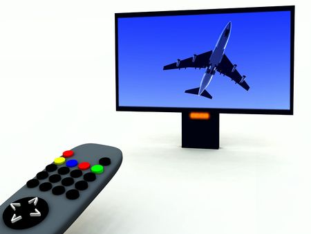 clicker: A image of a television remote control with a travel program on