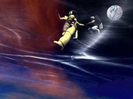 A conceptual image of 2 spaceman or astronauts floating in space. Stock Photo