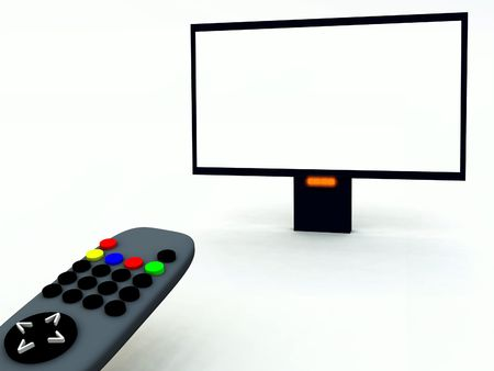 A image of a television remote control and a blank television screen you can fill in. photo