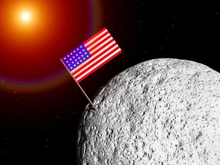 A conceptual image of the US flag on a moon photo