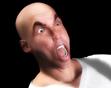 Una imagen de un hombre la cara que está experimentando un gran temor.  Foto de archivo - 812409