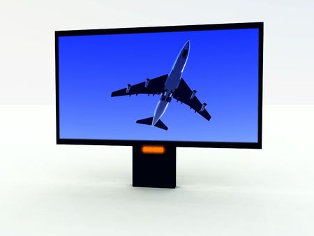 A computer created image of a modern TV set with a program on the screen. Stock Photo