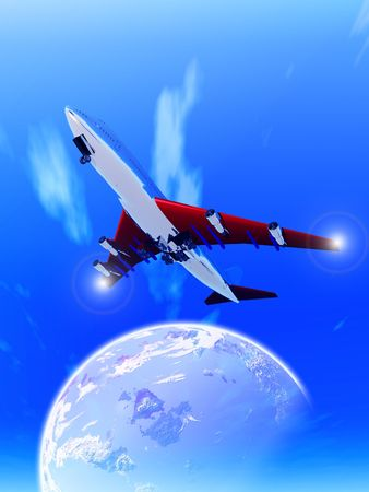 A plane that is flying high in the sky. photo