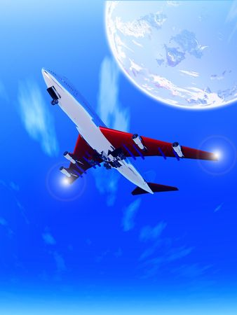 A plane that is flying high in the sky. Stock Photo - 812450